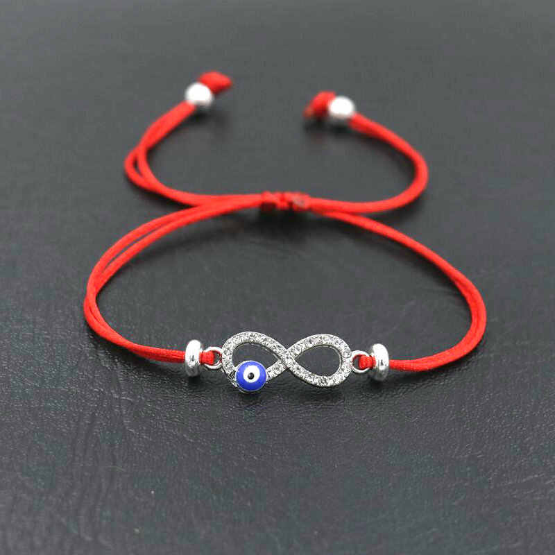 BPPCCR Cubic Zirconia Digital 8 Infinity Lucky Red Rope Thread String Charm Bracelets For Women Evil eye Pulseira Lovers Gifts
