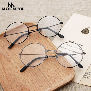New man Woman Retro Large Round Glasses Transparent Metal eyeglass frame Black Silver Gold spectacles Eyeglasses cnbtr 13 5x10x3cm black metal