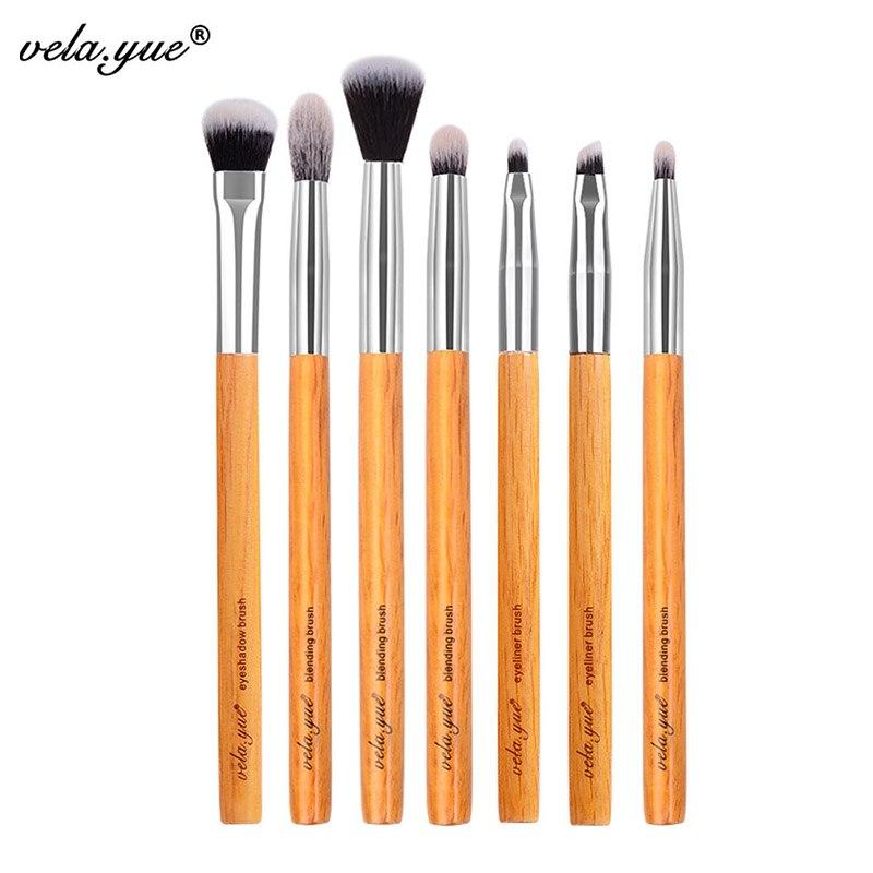 Vela! yue Premium maquillaje cepillo conjunto de 7 piezas ojos sombra mancha mezcla de delineador de ojos cejas maquillaje Kit de herramientas