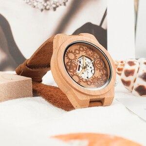 Image 3 - Часы мужские кварцевые с бамбуковым корпусом, светящимися стрелками
