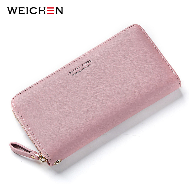 WEICHEN Wristband Women Long Clutch Wallet Large Capacity Wallets Female Purse Lady Purses Phone Pocket Card Holder Carteras(China)