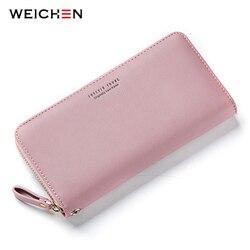 Женский Длинный кошелек-клатч WEICHEN, большой вместительный кошелек с отделением для карт