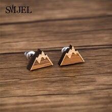 SMJEL – petites boucles d'oreilles de montagne en bois, Design naturel, pour filles, bijoux de montagne de neige