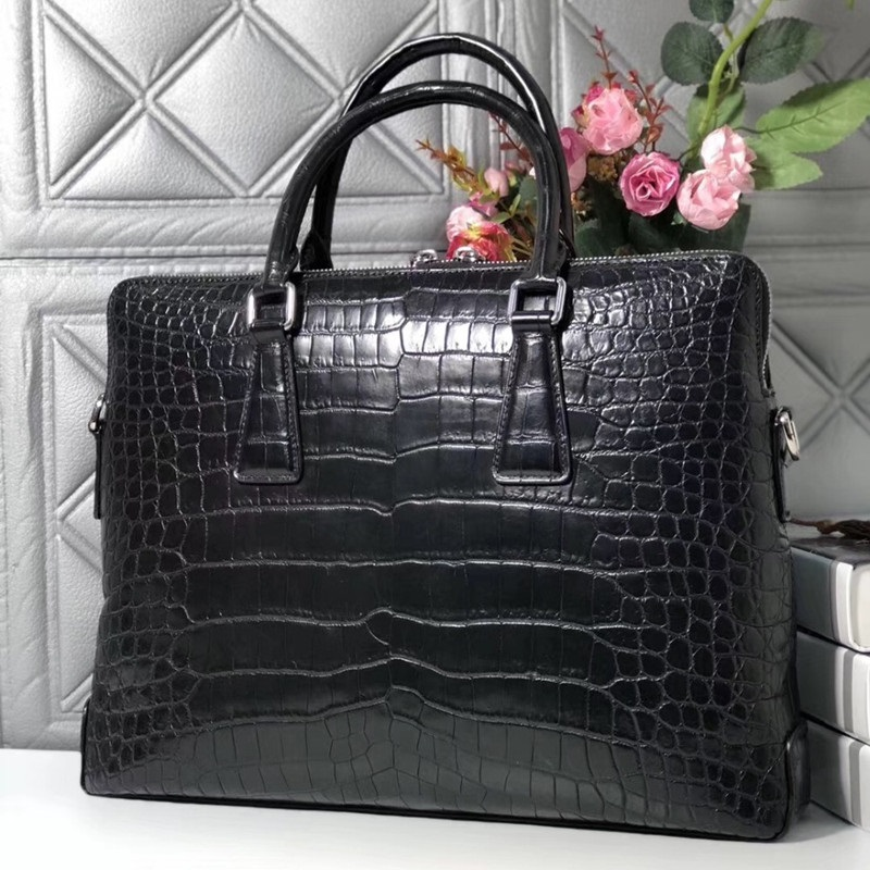 Handbag Working-Briefcase Shoulder-Bag Crocodile Men's Zipper Real Closure Belly-Skin