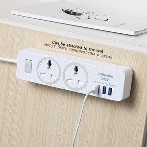 Image 4 - Urbantin 2AC & с 3 портами (стандарт общий выключатель Мощность полосы USB розетка смарт гнездо для шнура удлинителя с универсальным разъемом ЕС AU UK штепсельная вилка стандарта США