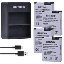 4Pcs 1250mAh AHDBT-301 Camera Battery + USB Dual Charger for GoPro Hero3 Battery GoPro Hero 3 Hero 3+ Camera Accessories