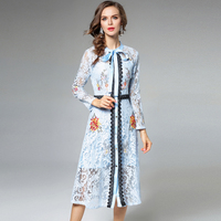 2018 New Women Spring Autumn Dress High Quality Flowers Embroidery Lace Runway Dress Luxury Evening Party