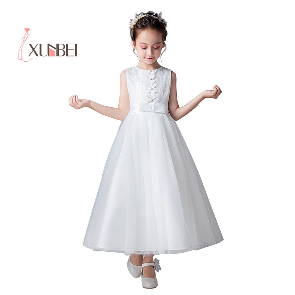 Floor Length Princess Tulle Flower Girl Dresses 2020 Lace Girls Pageant Dresses First Communion Dresses Party Gown