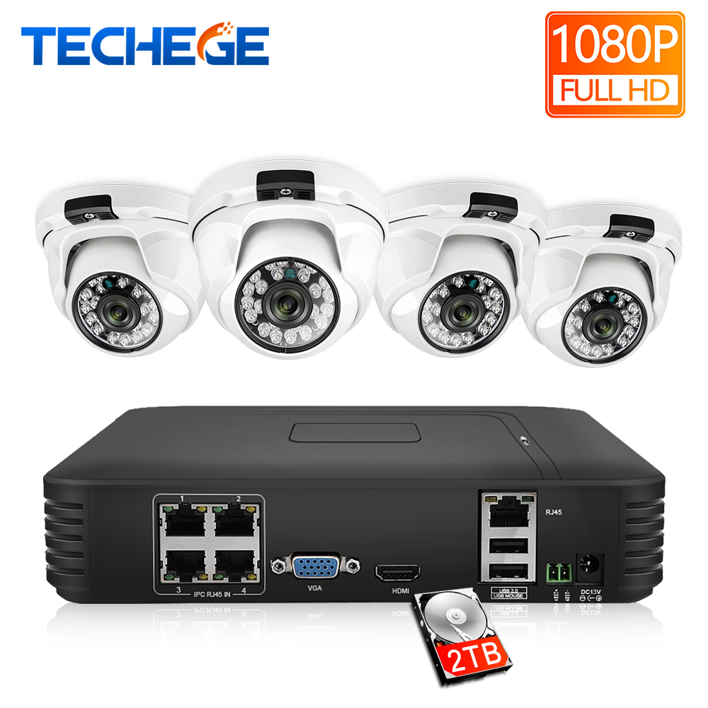 Techege HD 1080P 4CH Video Cameras System 2MP Metal IP Camera Indoor 4CH 1080P POE NVR
