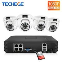 Techege HD 1080P 4CH Video Cameras System 2MP Metal IP Camera Indoor 4CH 1080P POE NVR 13V CCTV Kit Email Alarm Night Vision