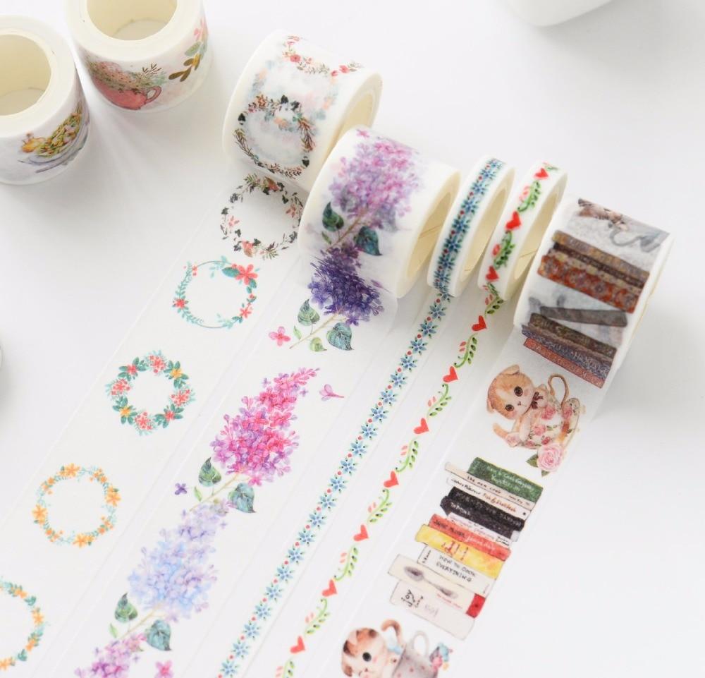20Designs 2017NEW!! Flowers/Girls/Cake/Cat/Book Pattern Japanese Washi Decorative Adhesive DIY Masking Paper Tape Sticker Label