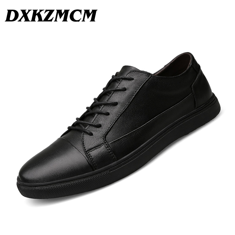 DXKZMCM 2018 Autumn Winter Handmade Genuine leather men Flats,Soft leather Men Casual Shoes mulinsen latest lifestyle 2017 autumn winter men