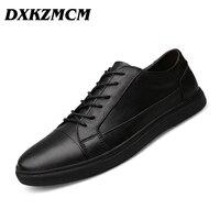 DXKZMCM Marca Planos de los hombres de cuero Genuino Hecha A Mano de La Manera, Los Hombres de cuero Suave Zapatos Casuales