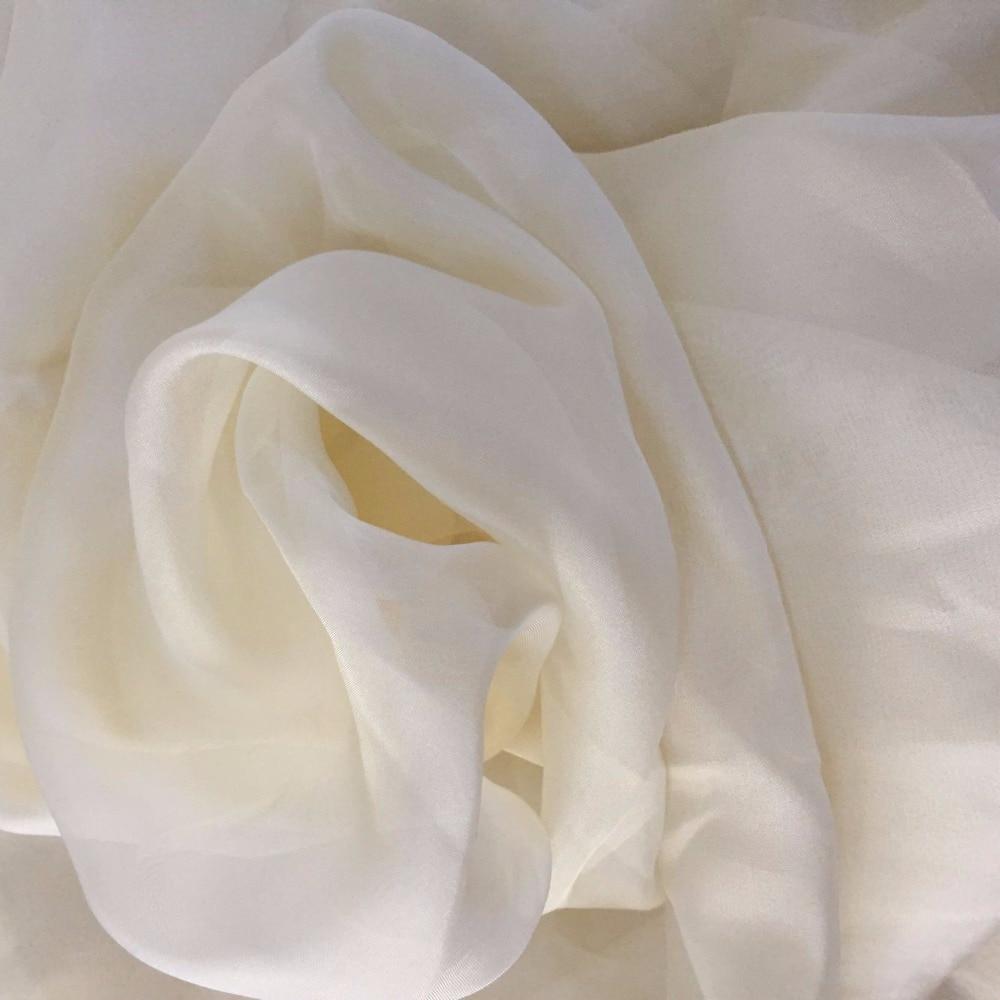Howmay Ivory Creme Silk Chiffon 100% Pure Silk Fabric 5.5m/m 140cm 55
