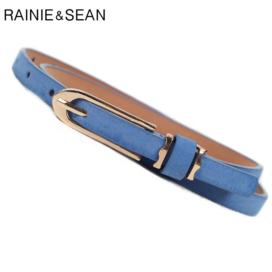 RAINIE SEAN Women Thin Belt Candy Color Faux Leather Belt Female Pin Buckle Blue Solid Ladies Dress Strap Retro Skinny Waistband