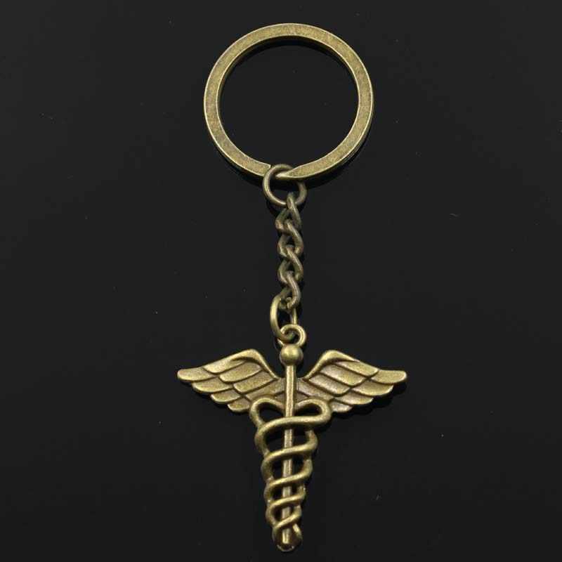 Moda 30mm Chave Anel Chave Chaveiro Chaveiro de Metal Jóias de Prata Antigo Bronze Chapeado símbolo médico do caduceus md 40x 40mm Pingente