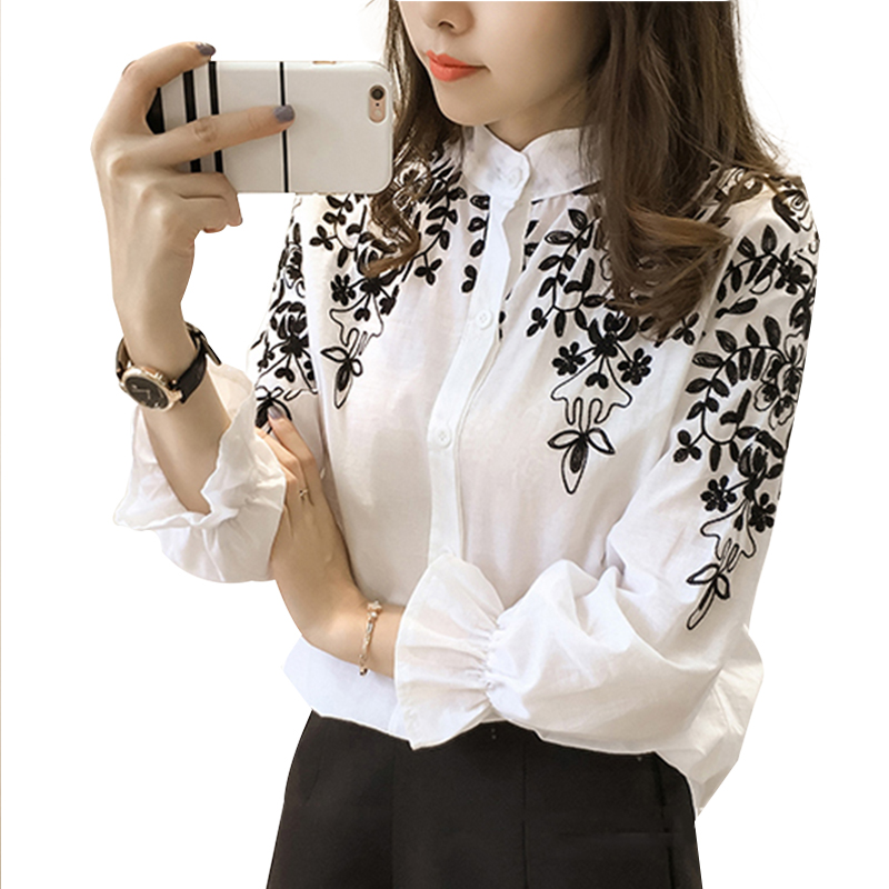 Embroidery Blouse Shirt Cotton Linen Women Blouses Camisas Femininas White Black Embroidered Tops Summer Fashion Female Clothing