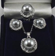 Venta caliente nuevo Estilo>>>>> Hermosa concha de perla gris plata pendientes pendientes de la joyería Conjuntos de Anillo