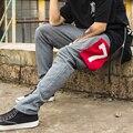 2017 hombres pantalones casuales estrellas impreso pantalones de chándal pantalones de deporte hombres ropa de hip hop de la marca slim fit lápiz pantalones para hombre joggers