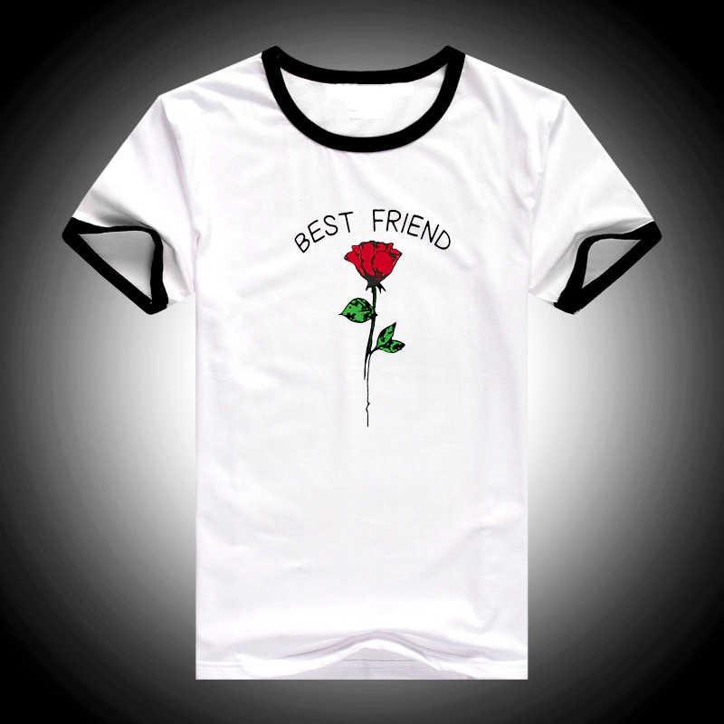 Best friend rose print graphic Female T-shirt Women Harajuku friends tv T-Shirts 2019 Summer BFF T Shirt  women's Clothing Tops