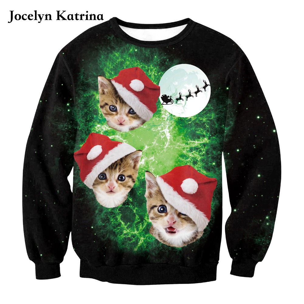 2017 new autumn and winter Christmas 3D cat printing sports sweater Europe and the United States loose long-sleeved sweatshirt