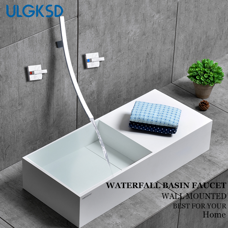 ULGKSD Basin Faucet Wall Mounted Chrome Brass Waterfall Vanity Sink Hot and Cold Mixer Tap Para Bathroom Faucets paintless dent repair pdr tools aluminum tap down hammer pdr slide hammer pdr glue tabs wedge t bar puller car dent fix auto