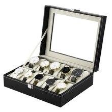 AOTU 1 шт. Роскошные Искусственная кожа 10 сетки профессиональный наручные часы ящик Дисплей для хранения ювелирных изделий Организатор корпус часов Caixa Para Relogio