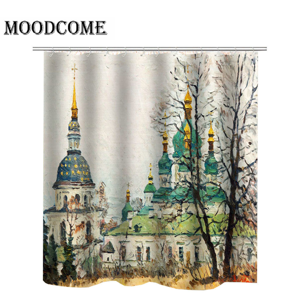 Dome Mosque Shower Curtain Islamic Muslim Bath Curtain douchegordijn 3d Castle Bathroom Curtain