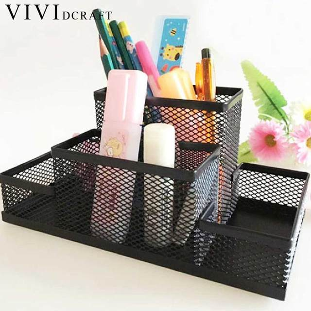 Vividcraft Office Organizer Metal Cosmetic Pencil Pen Holders Stationery  Container Office Supplies Desk Accessories Pen Stand