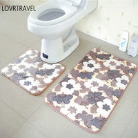2 Pcs Set Thickening Coral Fleece Floor Mats Bath Set Toliet Anti Slip Bathroom Rug 40