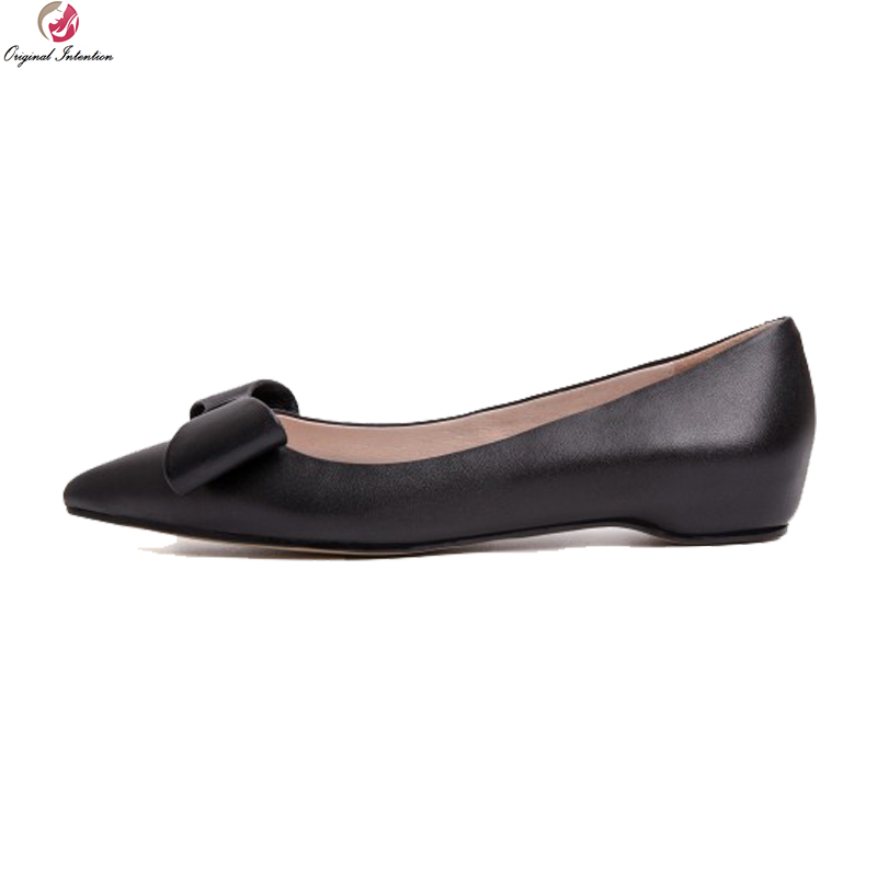 Original Intention Concise Women Flats Butterfly-knot Cow Leather Pointed Toe Flat Shoes Black Wine Shoes Woman US Size 4-8.5 pu pointed toe flats with eyelet strap