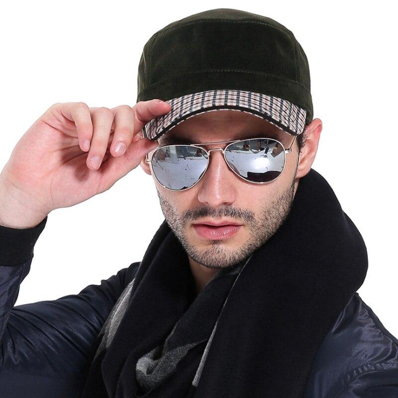 [AETRENDS] 2017 Zimní plochý vojenský klobouk Sailor klobouky pro muže Captain Caps Z-3167