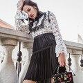 High-end custom self-portrait style spring autumn 2017 fashion runway long sleeve lace casual mini short patchwork dress