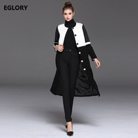 New Hot Sale Long Trench Coats 2017 Autumn Winter Women Black White Color Patchwork Long Sleeve
