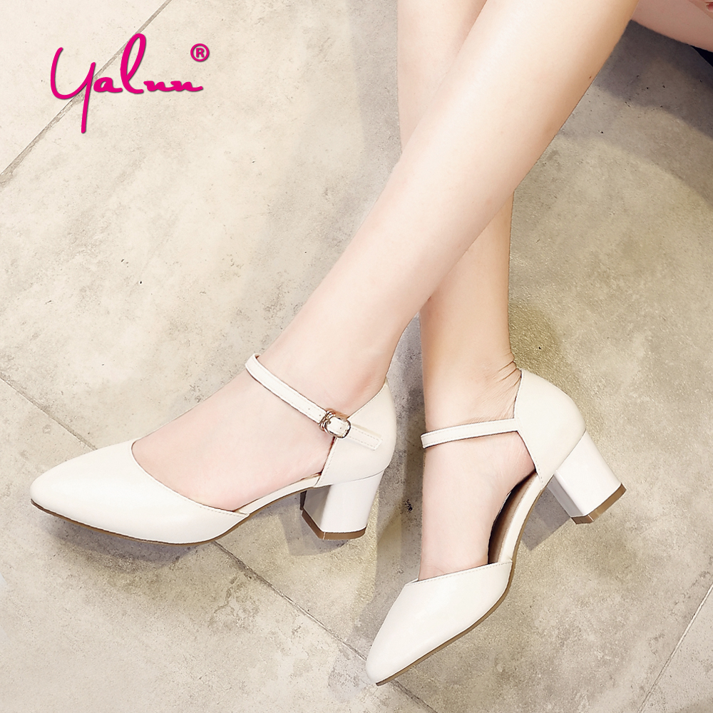 Black Square Heel Pointed Toe Hollow Shoes Women Buckle Strap Fashion Ankle Strap High Heels Pumps White Summer Plus Size Ladies цена