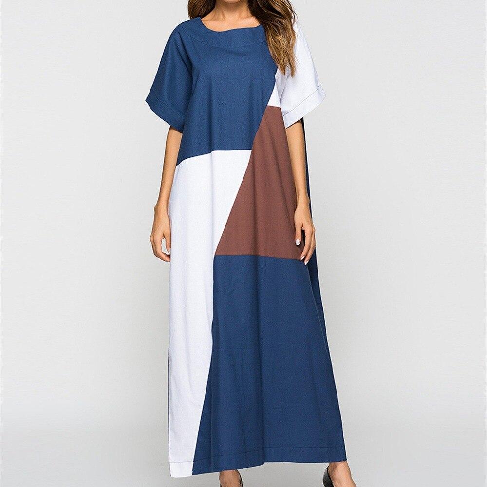 Женское длинное платье MIARHB, платье с коротким рукавом и О образным вырезом, в стиле пэчворк, лето 2019