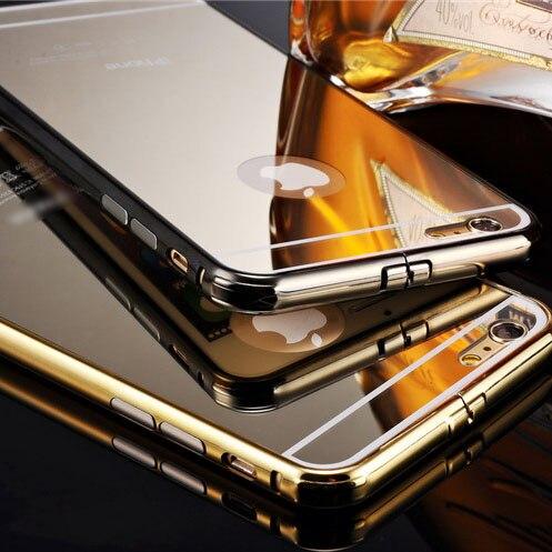 imágenes para Marca de Oro Brillante Del Espejo para el iphone 7 7 Más 6 Más 6 6 s Borde 5S 5 Samsung Galaxy S6 S6 Frontera del Metal de Aluminio Capa Fundas