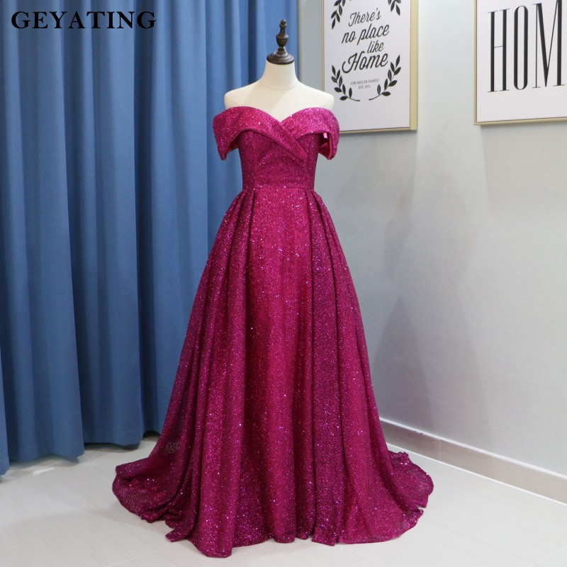 Heißer Rosa Fuchsia Bling Prom Kleider Dubai Lange Off Schulter Arabisch Abend Party Kleider 2019 Elegante Gold Pailletten Formale Kleid