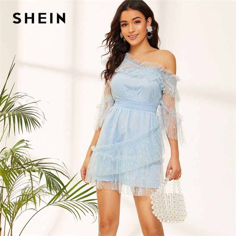 SHEIN Blue Asymmetric Shoulder Lace Party Dress 07190412159