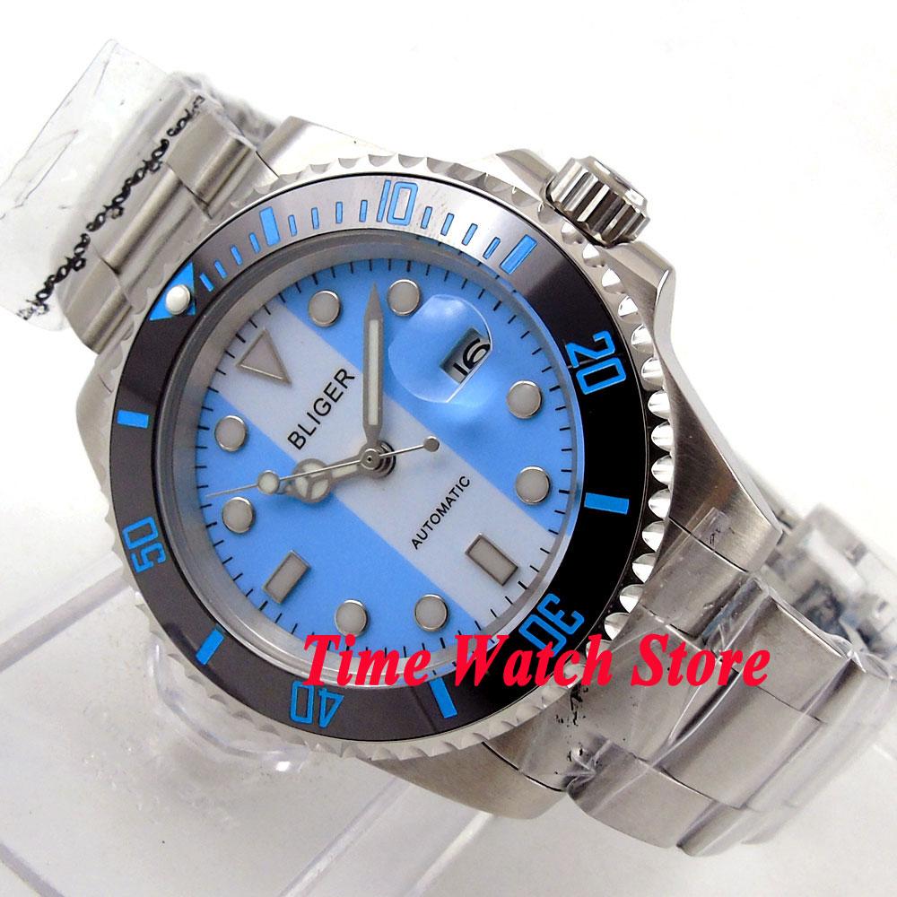 40mm blue white dial date luminous saphire glass Ceramic Bezel Automatic movement Men's watch BL118 цена и фото