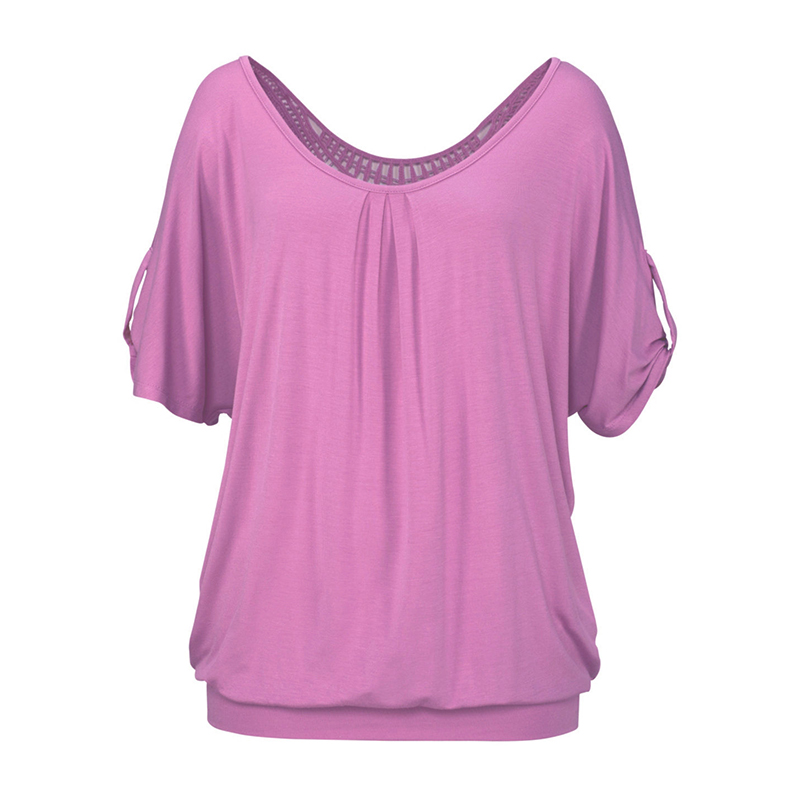 Plus Size 5XL Hollow Out Women T-shirt Kortärmad T-shirts Solid - Damkläder - Foto 5