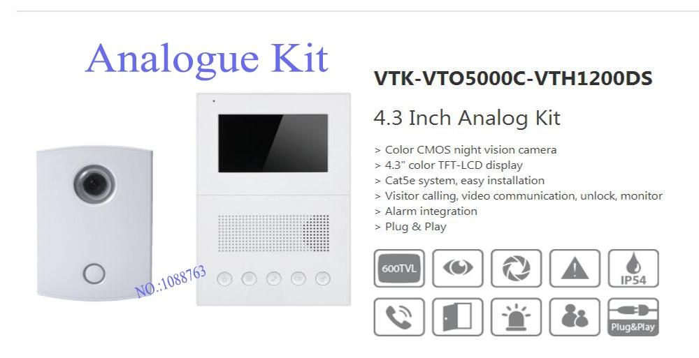 Free Shipping DAHUA Video Intercom 4.3 Inch Analog Kit Color CMOS night vision camera Without Logo VTK-VTO5000C-VTH1200DS