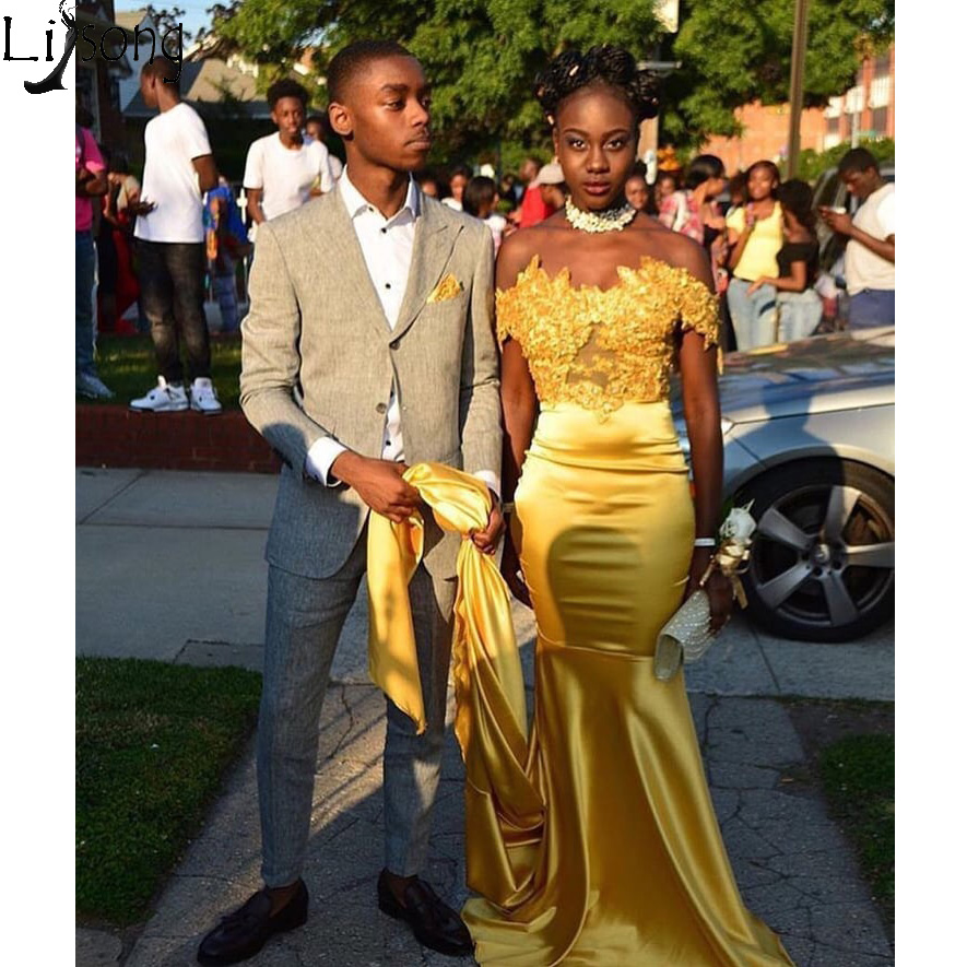 Hot Sale Gold Yellow Mermaid   Prom     Dresses   Off the Shoulder Sweetheart African Formal Party Wear Sweep Train Long Evening   Dress