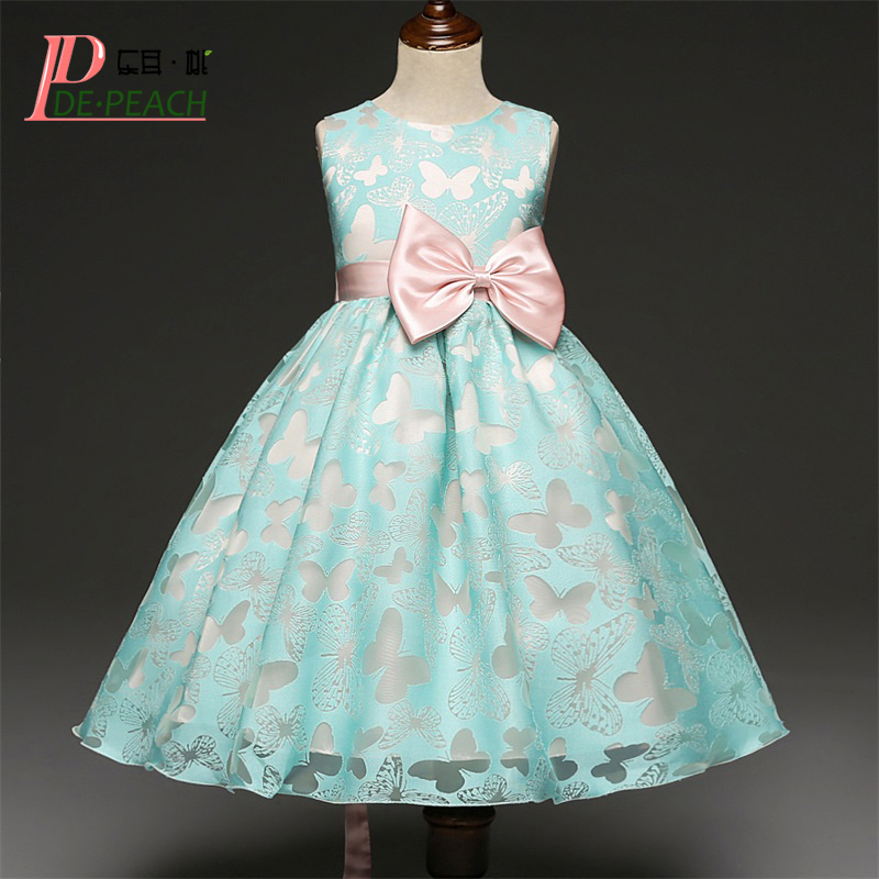 DE PEACH Butterfly Printed Baby Girl Dress Kids Wedding Birthday Party Dresses Girls Costumes Clothes Children Christmas Vestido fashion christmas dress girls party accessories children s halloween costumes for girls party dress kids cute birthday dresses