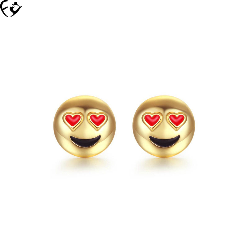 Selling cartoon smiling face expression stud earrings FANGY17080203