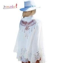 2016 New Gypsy Eagle Print Back Crochet Detail Beachwear G42035 Sexy Beach Dresses Cover up Pareo