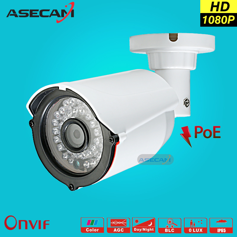 NEW HD IP Camera 1080P CCTV  infrared White Bullet Outdoor Security Network Onvif P2P 2MP Surveillance Camera 48V POE Xmeye App hd 960p blue bullet ip security camera 3 6mm lens outdoor cctv poe camera waterproof network hd surveillance camera vk13