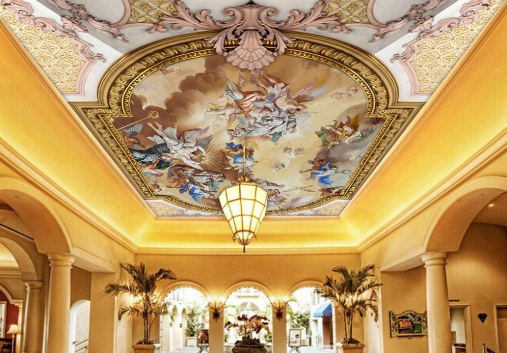Custom 3d Ceiling Murals Wallpaper European Oil Painting Photo Mural 3d Wallpaper For Ceiling Modern Wallpaper Patterns Ceiling