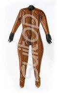 Для женщин Резиновая сексуальный комбинезон латекс Корректирующие боди для в trasparent коричневый с молнией сзади до промежности носки