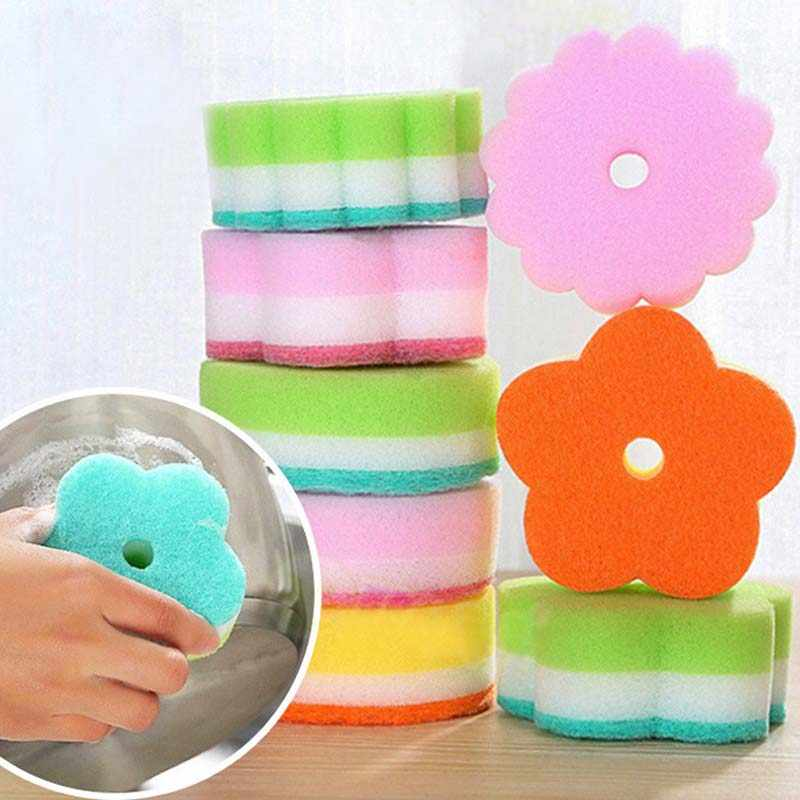 Sponges Scouring Pads Flower Shape Sponge Brush Tableware Glass Wash Dishes Sponge Kitchen Home Cleaning Tool